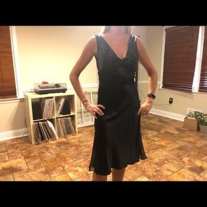 Vera Wang black satin dress with mesh tie